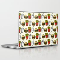 junk food Laptop & iPad Skins featuring Junk Food Pattern by mebz art