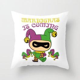 "Party Shirt Parade ""Mardigras Is Coming"" T-shirt Design Carnival Mask Drum Mask Clown Bourbon Throw Pillow"