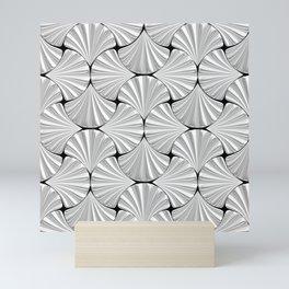 3-D Art Deco Silver Shells Pattern Mini Art Print