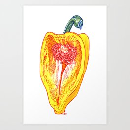 Yellow Pepper with Red Ink Art Print