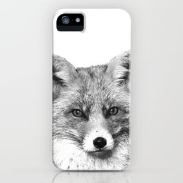 Black and White Fox iPhone Case