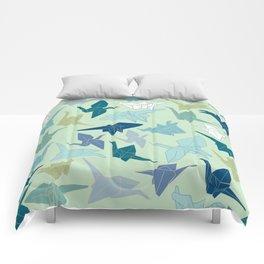 Paper Cranes- Green Comforters