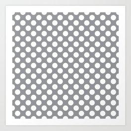 White Polka Dots with Grey Background Art Print