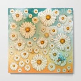 """Turquoise Moth &  Marguerites"" Metal Print"