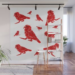 Kea Red Multiple - white background Wall Mural