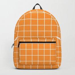Deep saffron - orange color - White Lines Grid Pattern Backpack
