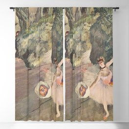 Dancer With A Bouquet Of Flowers The Star Of The Ballet By Edgar Degas   Reproduction   Famous Frenc Blackout Curtain