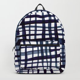 Watercolor doodle gingham - indigo Backpack