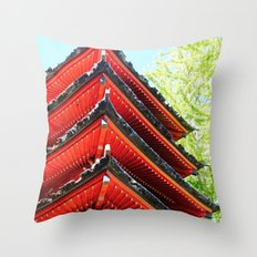Red Pagoda Throw Pillow