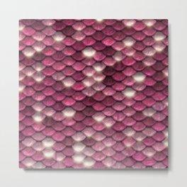 Pink mermaid glitter sparkling scales -  Mermaid Scales Metal Print