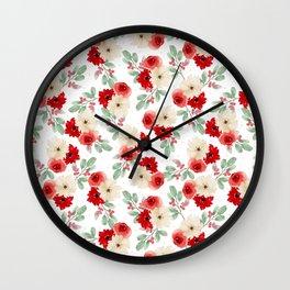 Holly Jolly Floral Wall Clock