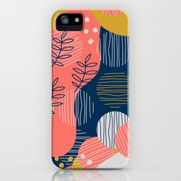 Mid Modern Nature 2.5 Coral, blue & Gold iPhone Case