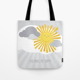 KAWAII SKY - smiling sun in grey clouds - you make me happy Tote Bag