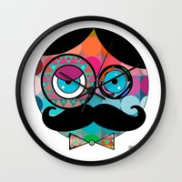 psychadelic Wall Clocks featuring Mr. Mustache Man Psychadelic by Gabriel J Galvan