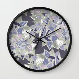 Mauve gray lavender silver watercolor floral Wall Clock