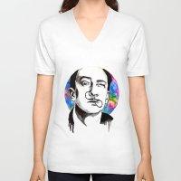 dali V-neck T-shirts featuring Dali by Clementine Petrova