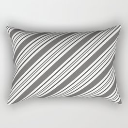 Pantone Pewter and White Thick and Thin Angled Lines - Diagonal Stripes Rectangular Pillow