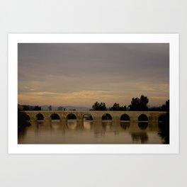 Bridge at Twilight Art Print