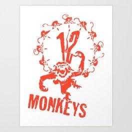 1 2 Monkeys Artwork Logo, Movies Designs For Prints, Posters, Tshirts, Bags, Men, Women, Kids Art Print