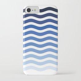Ocean waves navy blue striped pattern, minimalist summer waves iPhone Case