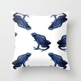 Blue Dart Frog Throw Pillow