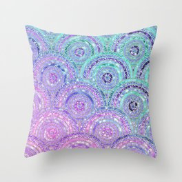 Aqua Blue Purple and Pink Sparkling Glitter Circles Throw Pillow