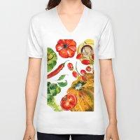 vegetable V-neck T-shirts featuring Vegetable mix by Liliya Kovalenko