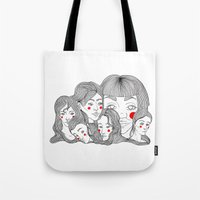 talking heads Tote Bags featuring Heads by meau