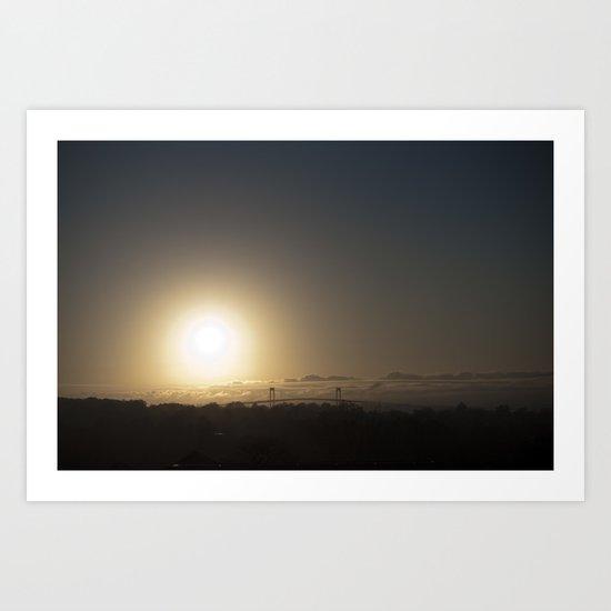 Muted Sunset Over Newport Bridge Art Print