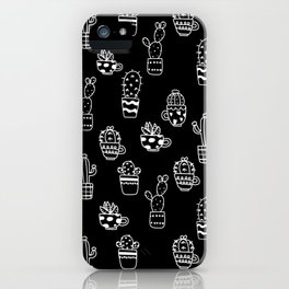 Cactus pots Indoor plants seamless pattern on black background iPhone Case