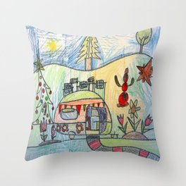 Christmas Camper Throw Pillow