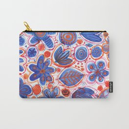 Cobalt Flowers Carry-All Pouch