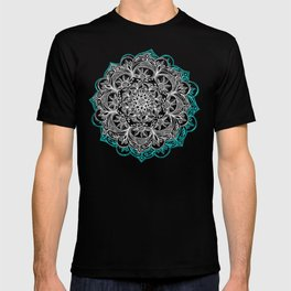 Turquoise & White Mandalas on Grey T-shirt
