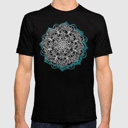 Turquoise & White Mandalas on Grey T-shirt