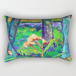 Otto Mueller Forest with Flowers and Pond Rectangular Pillow
