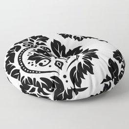 Decorative Damask Art I Black on White Floor Pillow