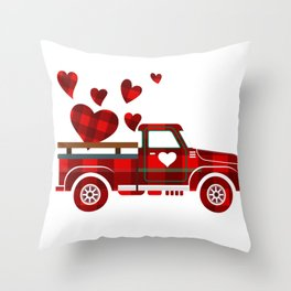 Valentines-For-Couples-T-Shirts-Red-Plaid-Truck-2021-T-Shirt Throw Pillow