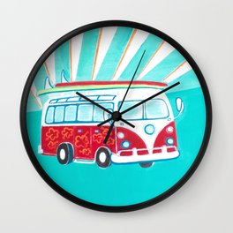 Surfer Sunrise Wall Clock