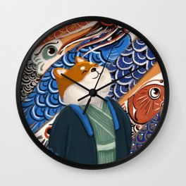 Shiba-inu enjoying koinobori Wall Clock