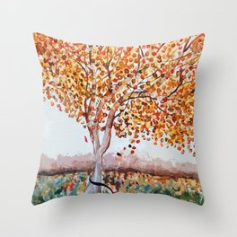 Standing Alone Tree Throw Pillow
