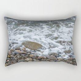 Wave washing over pebbles Rectangular Pillow