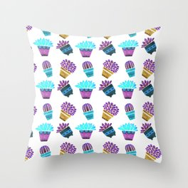 Hand painted teal purple watercolor summer cactus floral Throw Pillow