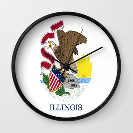 flag illinois,america,usa,midwest,Land of Lincoln,Prairie State,Illinoisan,Chicago,Aurora,Rockford Wall Clock