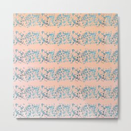 Coral teal watercolor abstract geometric stripes Metal Print