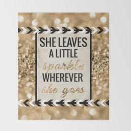 She Leaves a Little Sparkle Wherever She Goes Throw Blanket