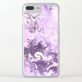 Abstract modern lavender burgundy watercolor marble pattern Clear iPhone Case