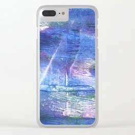 Blue abstract painting Clear iPhone Case