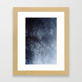 Blue veiled moon Framed Art Print
