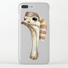 Ostrich in a Coonskin Hat Clear iPhone Case