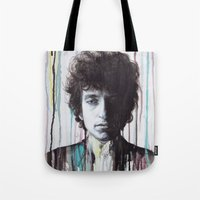 bob dylan Tote Bags featuring Bob Dylan by Denise Esposito